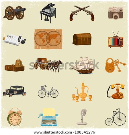 Antique Object collection in vintage vector style - stock vector