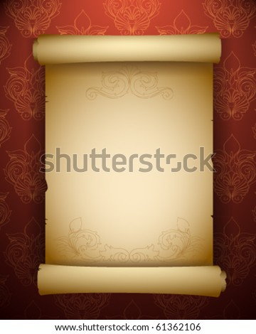 Antique paper scroll - stock vector