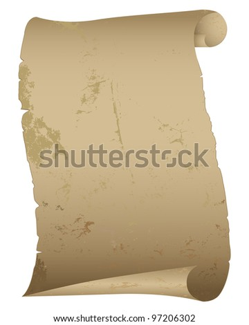 Antique paper scroll isolated on white. Vector illustration. - stock vector