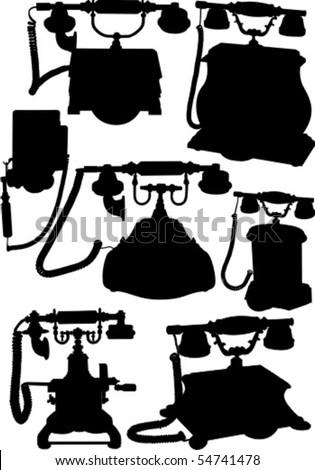 Antique Phones - stock vector