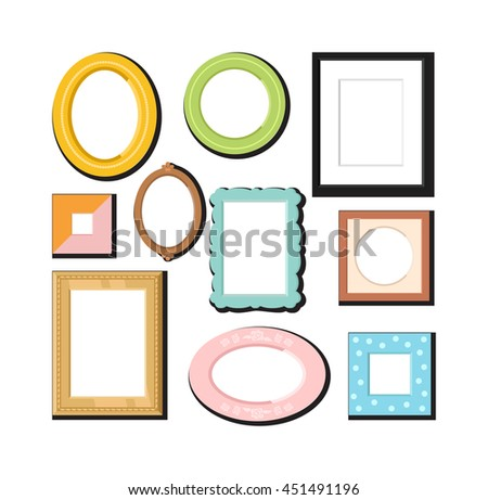 Antique photo frame isolated on white background. Vintage cartoon photo frame picture painting drawing template icon set retro design vector illustration. Stylish wall gallery background - stock vector