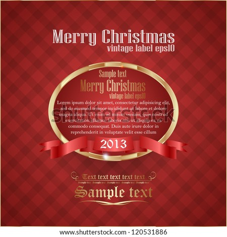 antique retro gold-framed label for christmas - stock vector