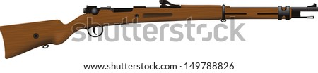 Antique rifle of the First World War with a wooden butt isolated on white background. - stock vector