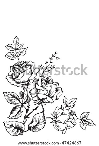 antique roses engraving, corner decoration, scalable and editable vector illustration - stock vector
