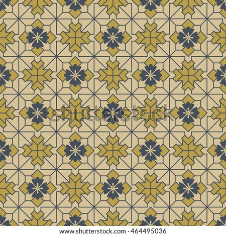 Antique seamless background image of check square cross geometry line flower