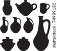 antique silhouette set ware. Vector - stock vector