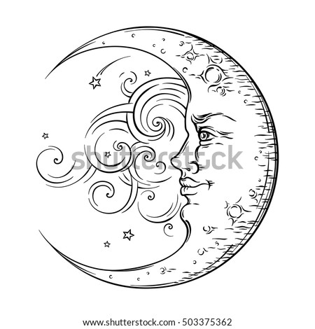 Antique style hand drawn art crescent moon. Boho chic tattoo design vector illustration