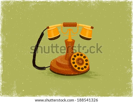 Antique telephone in vintage vector style - stock vector