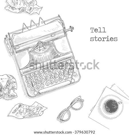 Antique typewriter background. Vintage typewriter machine. Journalist equipment top view illustration. Nostalgia sketch. Hand draw journalism concept with: crumpled paper, glasses and tea  - stock vector