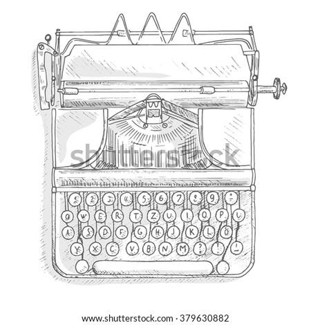 Antique typewriter. Vintage typewriter machine. Journalist equipment top view illustration. Nostalgia sketch. Hand draw journalism concept - stock vector