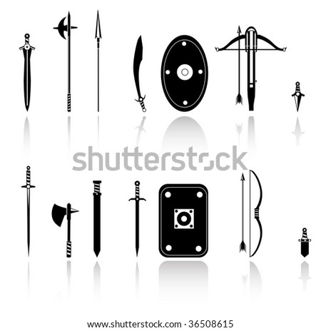 antique weapons,set of shields, swords and axes - stock vector