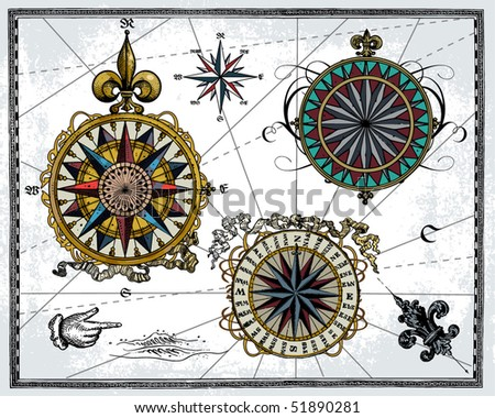 Antique wind roses - stock vector