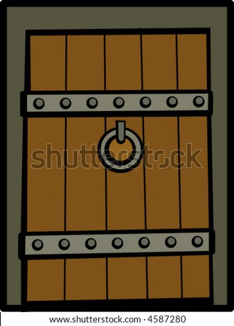 antique wooden door - stock vector
