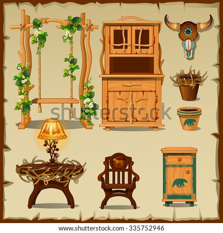 Antique wooden furniture set on the beige background of old paper - stock vector