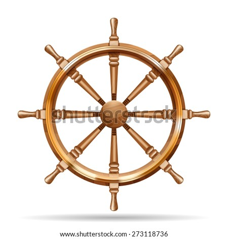 Antique wooden ship wheel on the white background isolated vector illustration