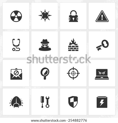 Antivirus and security vector icons. File format is EPS8. - stock vector