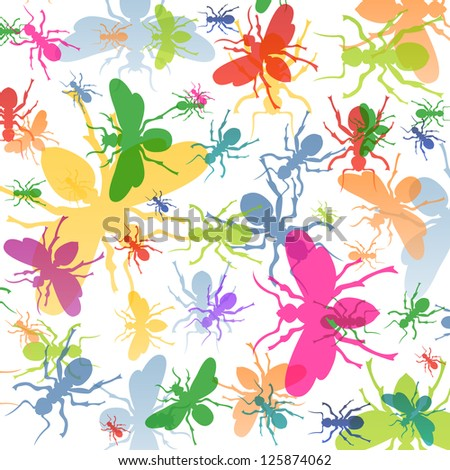 Ants colorful insects silhouettes illustration background vector - stock vector