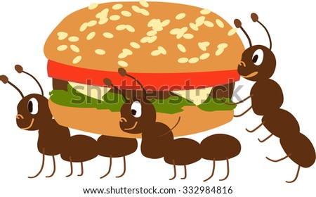 Ants dragging hamburger cartoon