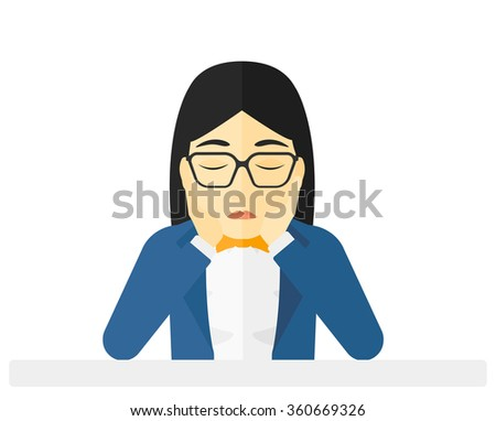 Anxious woman clutching her head. - stock vector