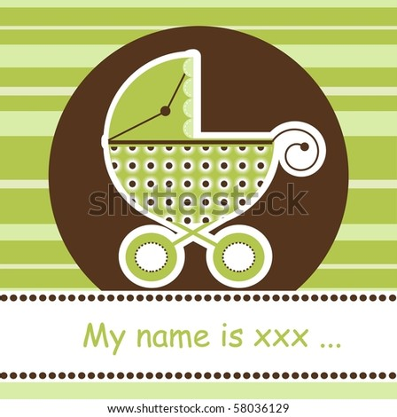 Any baby arrival card, vector - stock vector