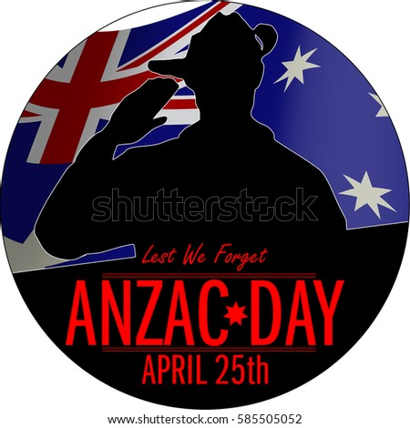 ANZAC day banner or poster featuring a  waving Australian flag. The Australian soldier issaluting the correct way for a solider from Australia.