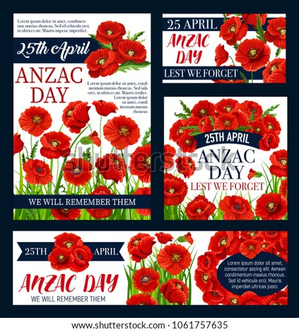 Anzac Day Lest We Forget Greeting Stock Vector Hd Royalty Free