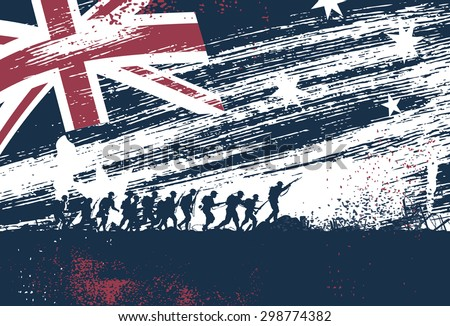 Anzac Day, silhouette of soldiers fighting at war with Australia flag as a background - stock vector