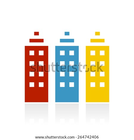 Apartment Building icon on a white background. - stock vector