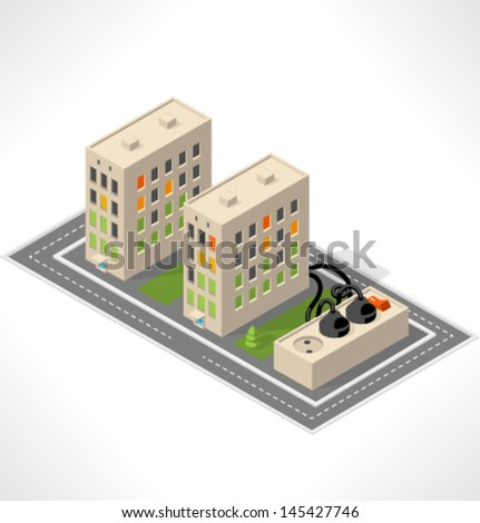Apartment building. Isometric building. - stock vector