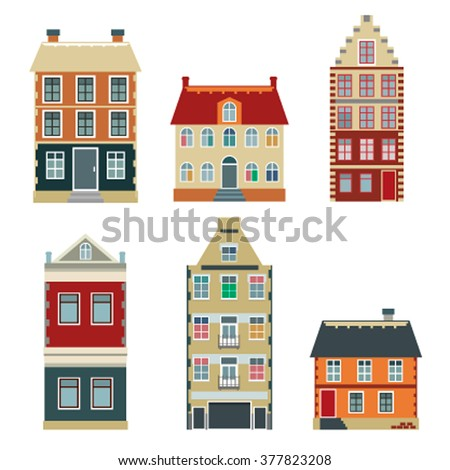 Apartment House Icons And Symbols Set Of Flat Color Cartoon Variety Old Buildings