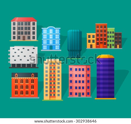 Apartment houses icons set in detailed flat style. Modern and old apartments. For city building. - stock vector