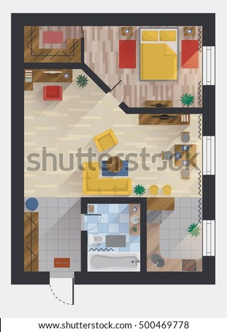 Apartment Flat House Floor Plan Design StockVektorgrafik 48 Beauteous Apartment Floor Plan Design