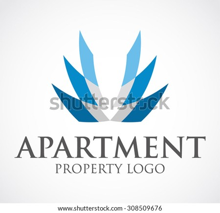 Building tower property ribbon abstract vector stock for Apartment logo design