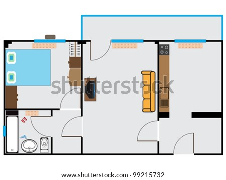 apartment sketch against white background, abstract vector art illustration - stock vector