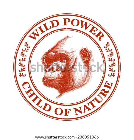 Ape head logo in red and white. Vector illustration - stock vector