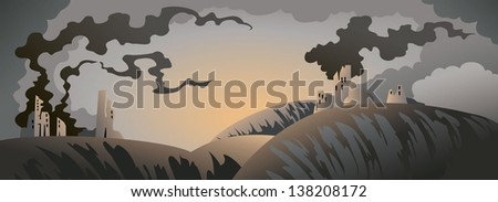 Apocalyptic landscape with ruined buildings and heavy clouds, vector illustration - stock vector