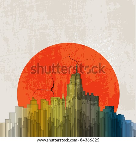Apocalyptic retro poster. Sunset. Grunge background. - stock vector