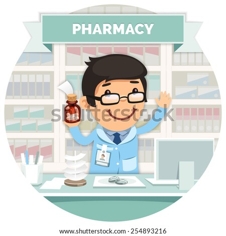 Apothecary behind the Counter at the Pharmacy Round Banner. Isolated on White Background. - stock vector