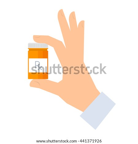Apothecary holding container with drugs. Medicine and healthcare flat concept illustration. Human hand holding a bottle with rx prescription. Vector element medical infographic for web, presentation. - stock vector