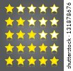App icons glass set. Five glossy yellow stars ratings. Vector illustration - stock vector