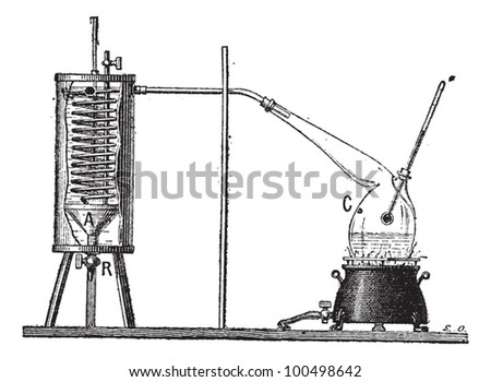 Apparatus for Measuring the Latent Heat of Vaporization of a Liquid, vintage engraved illustration. Dictionary of Words and Things - Larive and Fleury - 1895 - stock vector