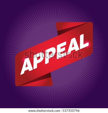 APPEAL arrow tag sign.