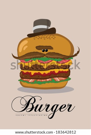 Appetizing mustache hamburger in cartoon style for fast food design - stock vector