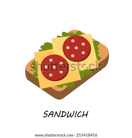 appetizing sandwich with cheese sausage and vegetables vector illustration isolated on white background, vector flat style - stock vector