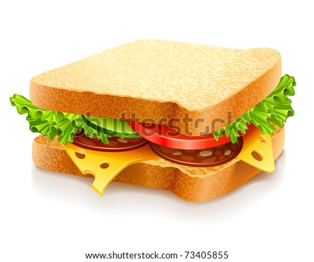 appetizing sandwich with cheese sausage and vegetables vector illustration isolated on white background - stock vector