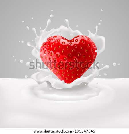 Appetizing strawberry heart in milk splashes. Love for food - stock vector