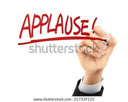 applause word written by hand on a transparent board - stock vector