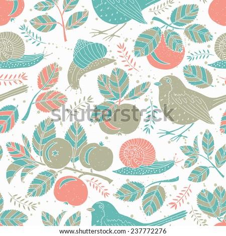 Apple and bird seamless pattern. Vector illustration.  - stock vector