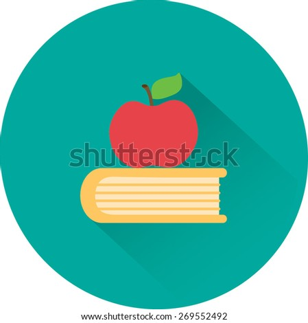 Apple and book. Education, modern flat vector icon - stock vector