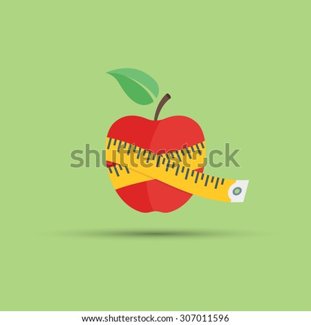 Apple and centimeter vector flat element on green background, fitness and diet, healthy eating  - stock vector
